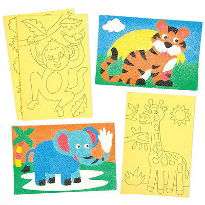 Jungle Animals Self-Adhesive Sand Art Scenes for Children to Design (Pack of 8)