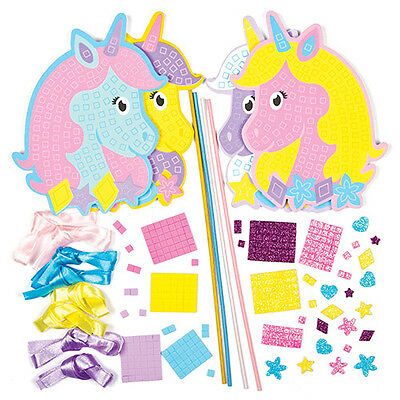 Unicorn Foam Mosaic Wand Craft Kits for Children to Decorate (Pack of 4)