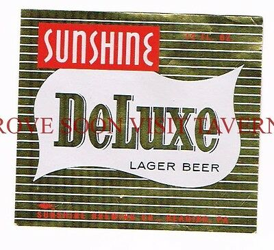 Unused 1950s Metallic Sunshine Reading Beer 12oz label Tavern Trove Pennsylvania