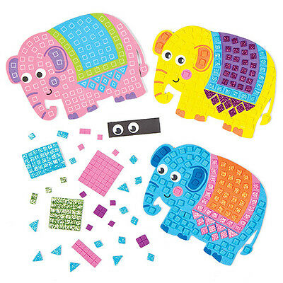 Elephant Mosaic Foam Fridge Magnet Kits for Children to Decorate (Pack of 4)