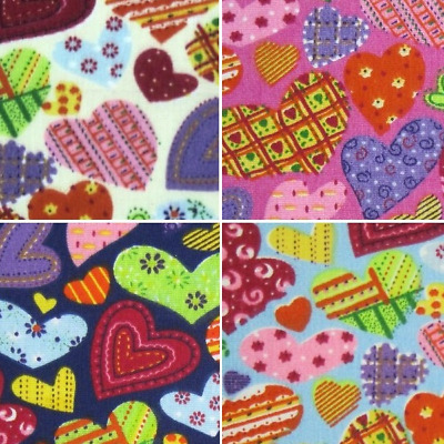 Polycotton Fabric Heart Bright Patchwork Patterned Hearts