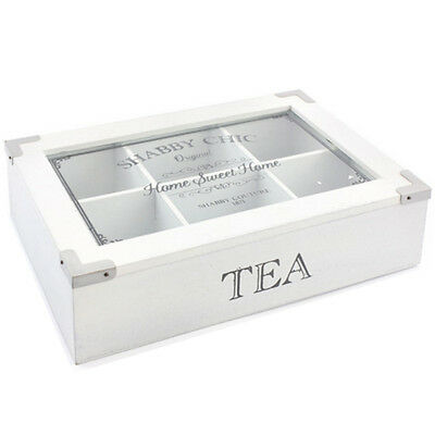 Shabby Chic Tea Box Kitchen Storage Organiser 6 Compartments Lid Vintage Gift