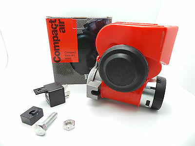 Racex 12V Compact Twin Air Horn Red RX2919