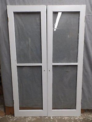Antique Pair 2 Lite Casement Windows Country Cabinet Doors Old Vintage 438-16