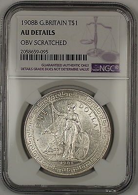 1908B Great Britain Silver Trade Dollar Coin NGC AU Details Obverse Scratched
