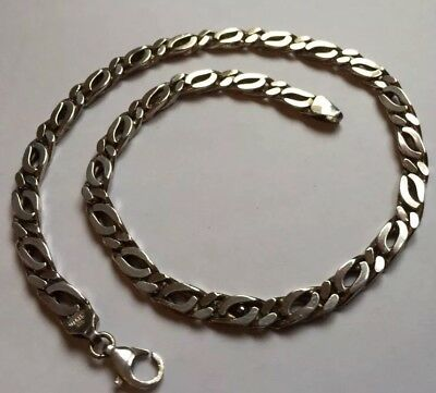 Hallmarked HM Sterling Silver Heavy Flat Curb Chain Necklace Unisex Mens 65g