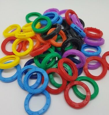 24x COLOUR KEY CAP CAPS COVERS TAGS ID MARKERS KEYRING MIXED COLOURS ROUND RINGS