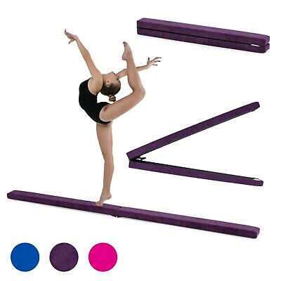Gymnastics Folding Balance Beam 2.1M Hard Wearing Suedine Home Gym Training