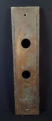 Antique Bluff City Cast Bronze Elevator Up Down Plate Cover Indicator Panel Vtg