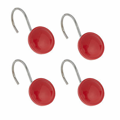 Color Rounds Red Hand Crafted Bathroom Shower Curtain Hooks Set of 12