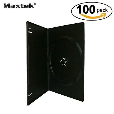 Maxtek 7mm Slim Black Single CD/DVD Case 100 Pieces Pack.