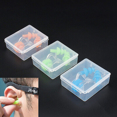 For Kids Adults Diving Swimming Waterproof Ear Plugs &Nose Clip Set With Box