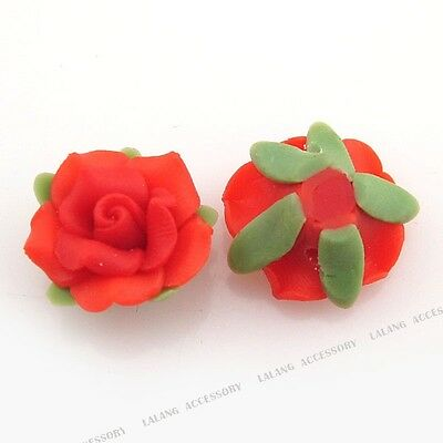 20x Red Flower Fimo Polymer Clay Beads Fit DIY 110506