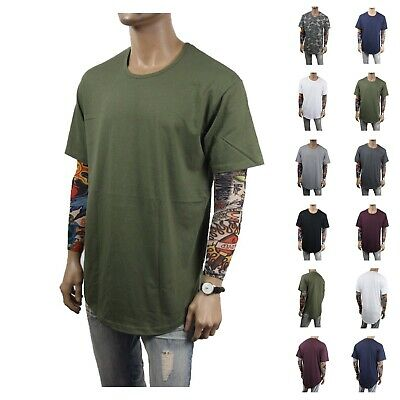 Men's T-Shirt Long Extended Basic Fashion Casual Tee Hip Hop Crew Neck Lot S-2X