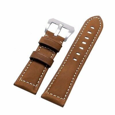 24mm 26mm HQ Brown Crazy Horse Genuine Leather Wrist Watch Strap Pin Buckle Gift