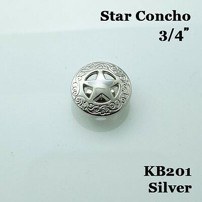 【KB201】3/4'' Western Concho Texas Star Saddle Conchos Silver