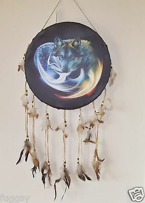 MYSTICAL WOLF DreamCatcher DRUM TYPE DREAM CATCHER 40CM  NEW