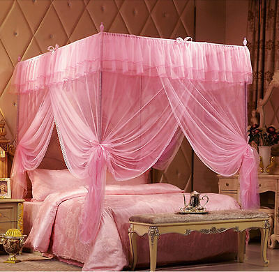 Pink Lace Princess 4 Corner Post Bed Canopy Mosquito Netting Or Frame/Post
