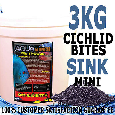 AQUAmunch Cichlid Bites Aqua Fish Food Pellet Mini 3kG 1.5MM Sinking new