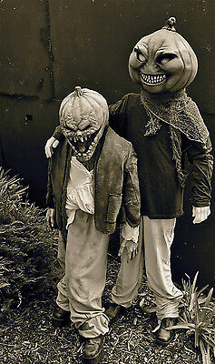HALLOWEEN Retro Kids Pumpkin Head Costumes / Trick or Treaters From Hell