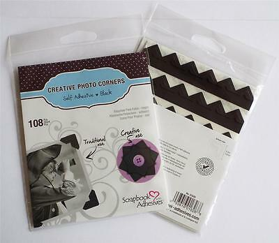Traditional Classic Black Photo Corners Pack 216 Self Adhesive Paper