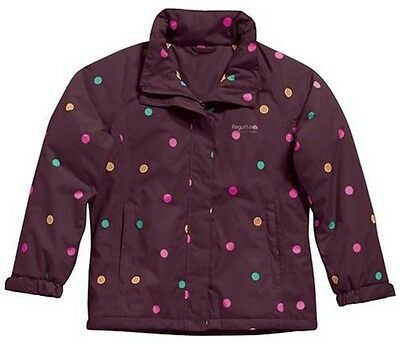 Girls Regatta Sweetpea Waterproof Winter Padded Jacket Purple Size 3-4