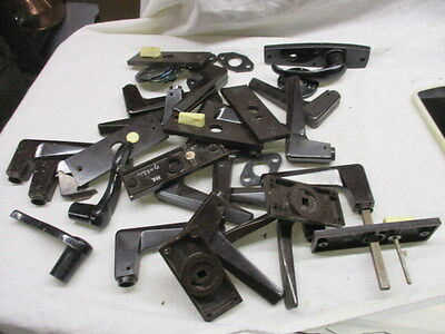 Retro Black Lever Door Handles Bulk Job Lot Late Vintage 1960's Old Plates