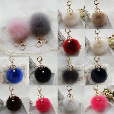 Rabbit Fur Key Ring Cell Phone Ball PomPom Handbag Pendant Charm Car Keychain