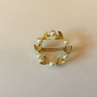 Vintage 9ct 9k Gold Circular Leaves Design Pearl Pin Brooch