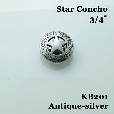 【KB201】3/4'' Western Texas Star Saddle Concho Screwback Concho Antique-Silver