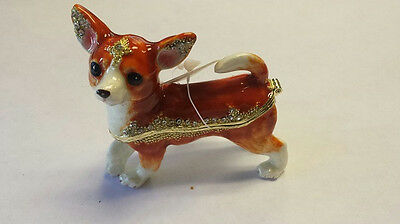 Brown and White Chihuahua Bejeweled Enamel Jewelry Box