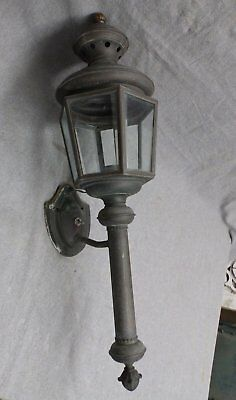 Large Vtg Brass Exterior Sconce Light Fixture Colonial Coach Lantern 447-16