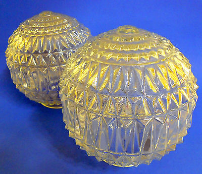 Set of 2  Mid Century Vintage Glass Wall Ceiling Light Bulb Ball Fixture Scones