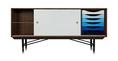 1955 Color Theory Mid-century Modern Sideboard Credenza, Walnut/Blue Drawers