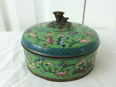 """Vtg Cloisonne Round Covered Trinket 3.5"""" by 5"""" Dragon-Foo Dog Finial China"""