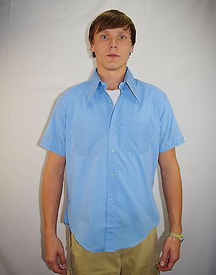 NWOT Vintage 90's Men's Blue Cuffed Short Sleeve Shirt by Royal Choice Size L