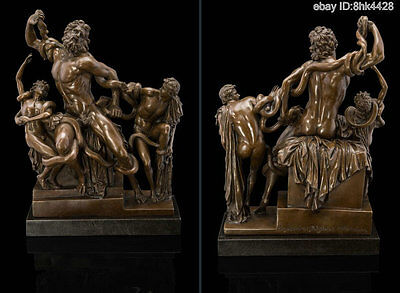 "35cm Abstract bronze marble base "" Laokon struggle to snake "" Statues"