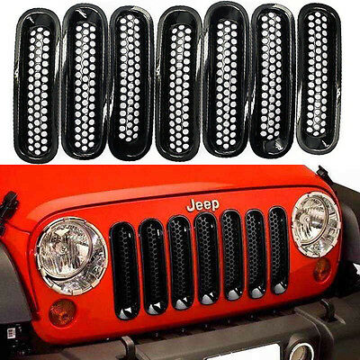 7PCS Black Trim Front Grille Cover Insert Mesh Grill For 07-16 Jeep JK  Wrangler