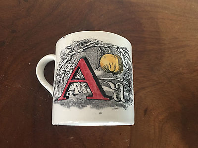 Antique Child's Staffordshire Pottery Alphabet ABC Mug 19th century 1850 Toy