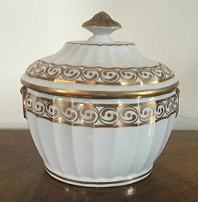 18th c. Chamberlain's Worcester Porcelain Sugar Bowl Sucrier 1785 White & Gold
