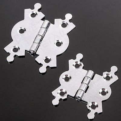 2 x POLISHED CHROME ORNATE BUTTERFLY BUTT HINGES Small - Large 40mm & 50mm Door