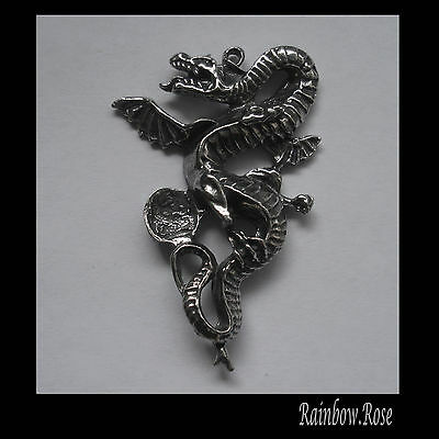 PEWTER CHARM #152 St George Dragon with Crystal Cavity (45mm x 30mm) 1 bail