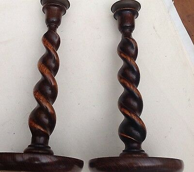 Pair Of Wooden Medium/dark Oak Vintage Barley Twist Candlesticks / Holders