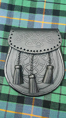 New CELTIC EMBOSSED BLACK LEATHER KILT SPORRAN With Belt and Chain/Kilt Spooran