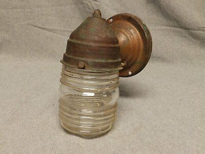Vtg Copper Porch Sconce Light Fixture Jelly Jar Glass Globe Arts Crafts 452-16