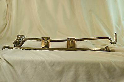 "2 – 24"" Antique Brass Hook and Eye Latches"