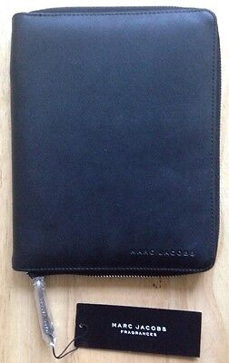 "MARC JACOBS NOTEBOOK PORTFOLIO, BLACK with ZIPPER, 8"" x 6.5"", NEW"