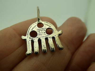 Vintage 19th-20th Century Reproduction Sterling Silver Hamsa Hand Amulet Pendant