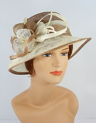 New Woman Church Derby Wedding Party Sinamay Dress Hat 7045 Taupe & Ivory