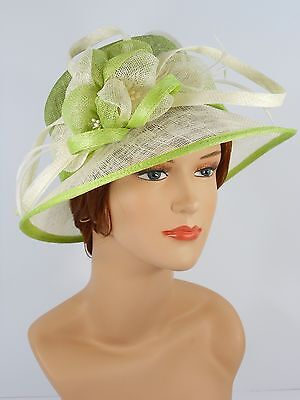 New Woman Church Derby Wedding Party Sinamay Dress Hat 7045 Lime Green & Ivory